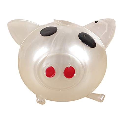 Hisoul Jello Pig Decompression Toy Squeeze Super Cute Anti Stress Splat Water Pig Ball Vent Toy Venting Sticky Pig Toy Relieve Stress Cure Toy ( White)
