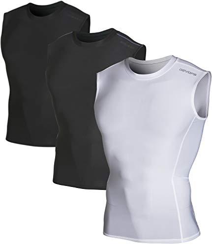 DEVOPS Men's 3 Pack Cool Dry Athletic Compression Baselayer Workout Sleeveless Shirts (Medium, Black-Black-White)
