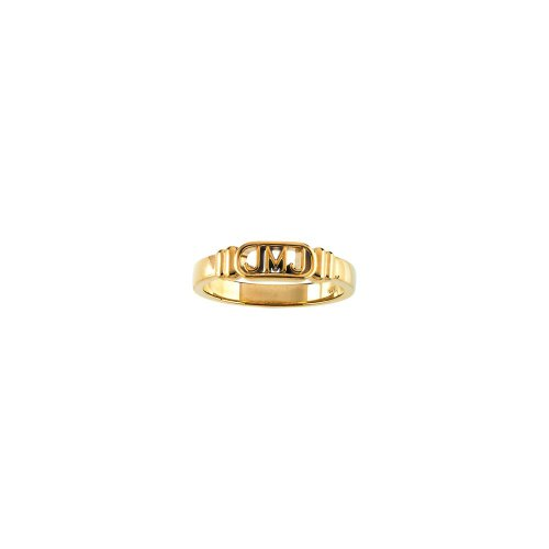 14k Yellow Gold Jesus, Mary and Joseph Ring Size 12
