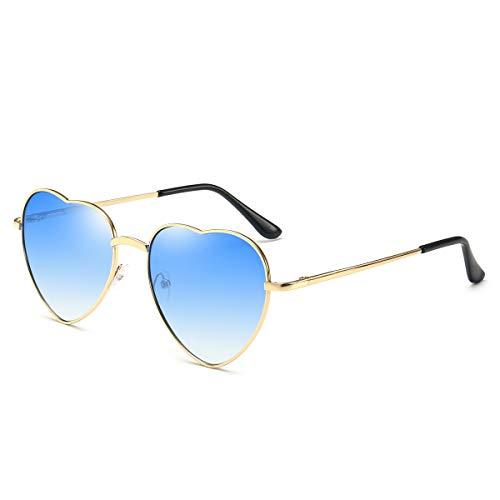 Dollger Blue Heart Sunglasses for Women Thin Metal ()
