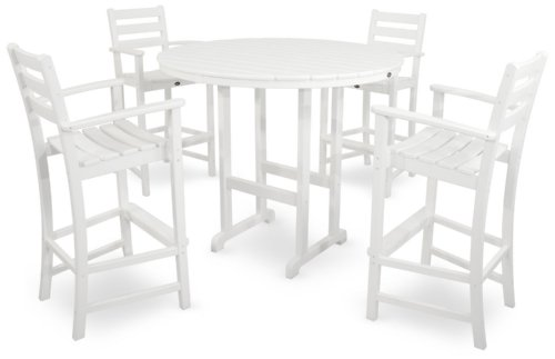 Outdoor Furniture Polywood (Trex Outdoor Furniture TXS119-1-CW Monterey Bay 5-Piece Bar Set, Classic White)