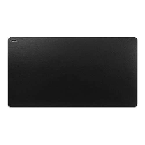 Leather Executive Desk Pad - Nekmit Leather Desk Blotter Pad 34 x 17 Inches, Waterproof, Non-Slip, Black