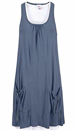 Les Femmes Domple Sans Manches Réservoir Poche Sundress Plage Casual Robe D'été Bleu Foncé