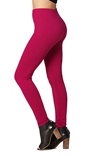 Conceited Super Soft High Waisted Printed Leggings for Women - Solid - Fuchsia Pink - Small/Medium -