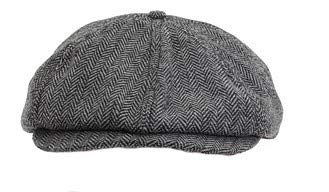 Little Lids Vintage Peaky Blinders Children's 100% Wool 8 Panel Black/White Herringbone Scally Newsboy Cap (Extra Small)