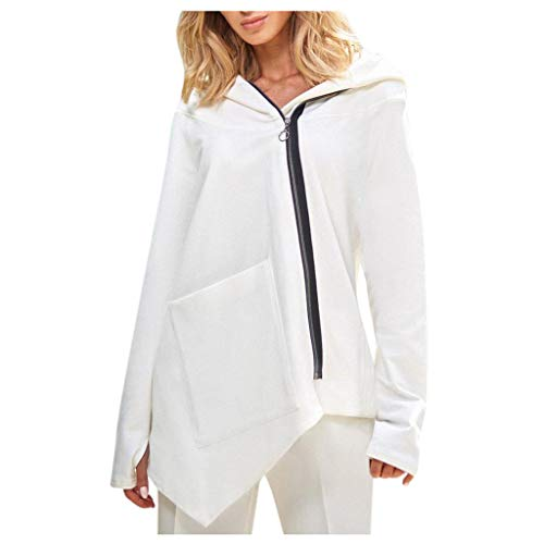 NANTE Top Loose Women's Blouse Solid Long Sleeve Pullover Tops Blouse Sweatshirt Coat Outercoat Womens Tops Ladies Costume (White, ()