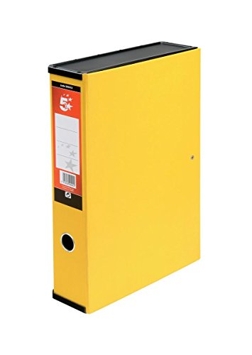 5 Star Office Box File Lock Spring with Ring Pull and Catch 75mm Spine Foolscap Yellow [Pack 5]