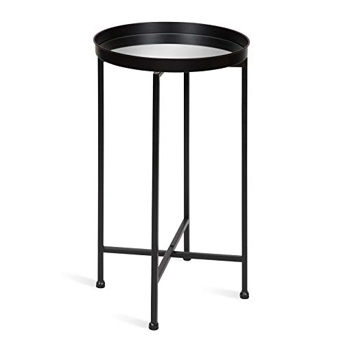 Kate and Laurel Celia Round Metal Foldable Tray Accent Table, 14x14x25.75, Black/Mirror