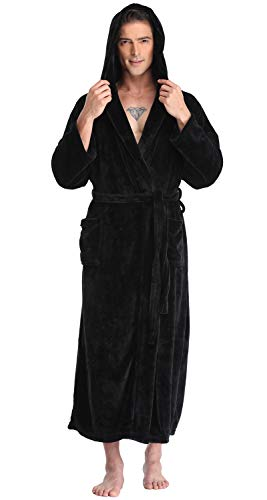 Men's Hooded Robe Long Plush Fleece Bathrobe Soft Spa Robe, Black, 2XL/3XL