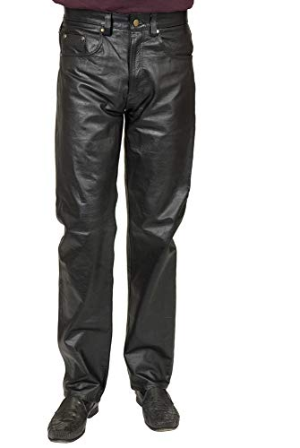 Charades Men's Faux Leather 4 Pocket Pants, Black, Waist 40 (Iv Leather)
