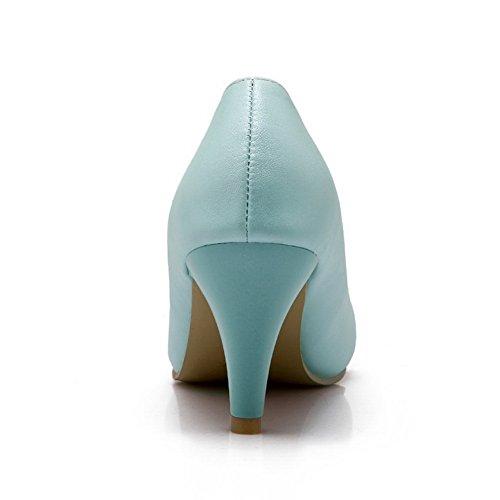 BalaMasa Ladies Pointed-Toe Spikes Stilettos Low-Cut Uppers Urethane Pumps Shoes Blue DXF0ejQkz