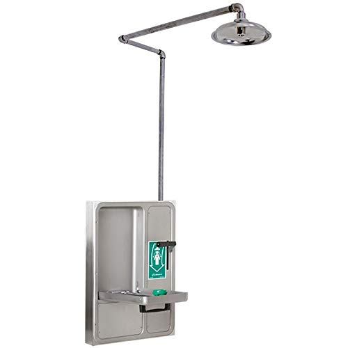 (Haws 8356WCW Barrier-Free Wall-Mounted Fully Recessed Combination Shower and Eye/Face Wash)