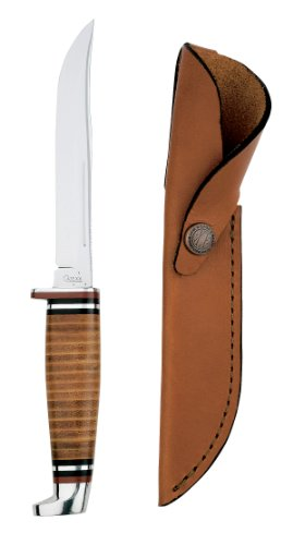 Case Cutlery 381 Case 316-5 Leather Hunter with Stainless Steel Fixed Blade Leather Hunter, Outdoor Stuffs