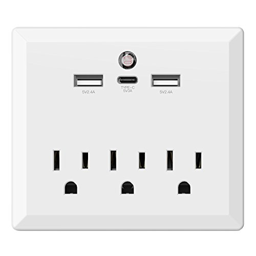USB Wall Outlet Plug, Maxcio Wall Outlet with USB Ports(2.4A)/USB-C Port(3A), Outlet Extender with Auto Sensor Night Light, Phone Holder Charging Station