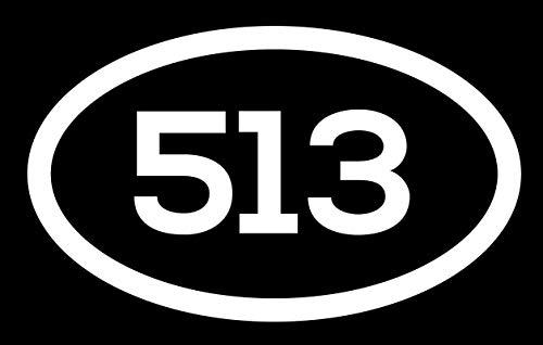 DHDM 513 Area Code Sticker Ohio Cincinnati Fairfield Hamilton City Pride Love   5-Inches by 3-Inches   Premium Quality White Vinyl   ND692 -