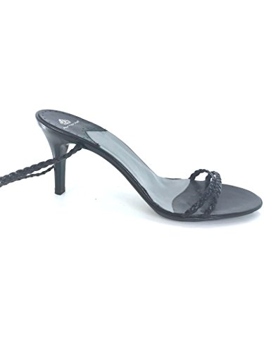Black Leather Fornarina Braids cm PEFFK3788WC 39 Heel with Sandals Leather 8 fZwwgHSx