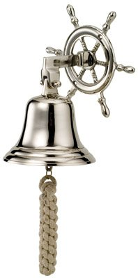 Nickel Plated Brass Ship Wheel Bell (Chrome Plated Brass Bell Ships)