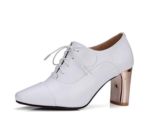 Pelle Pelle Pelle Tacco White Alto con Alto Lace Tonda Womens Womens Womens Testa E in Deep Shiney Shoes Tacco Bouth O186wp