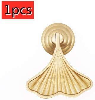 Moda creativa hoja de Ginkgo perilla de cajón de un solo orificio estantería zapatero mesita de noche manija de latón cepillado en forma de abanico