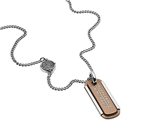 Diesel Men's Stainless-Steel and Copper Dog Tag DX1095040 in Gift Box
