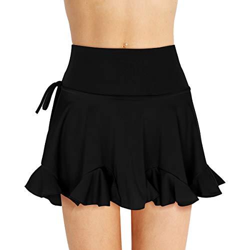 Agoky Women Girls High Waist Latin Dance Skirt Tango Swing Rumba ChaCha Dancewear Costume Skirts Black XXX-Large