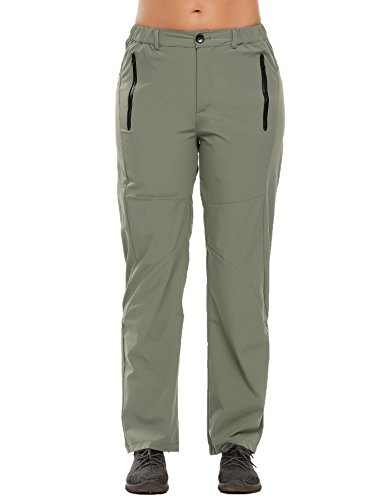 Zeagoo Women's Lightweight Quick Dry Travel Hiking Rain Unility Scrub Work Cargo Pants, Olive Green, X-Large