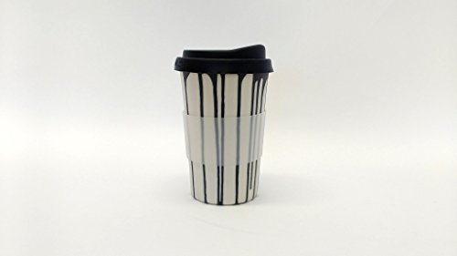 - white with black stripes handmade to-go / travel cup for home, car or coffee shop use. Silicone lid and cuff, porcelain body. dishwasher proof. 12-14 oz.