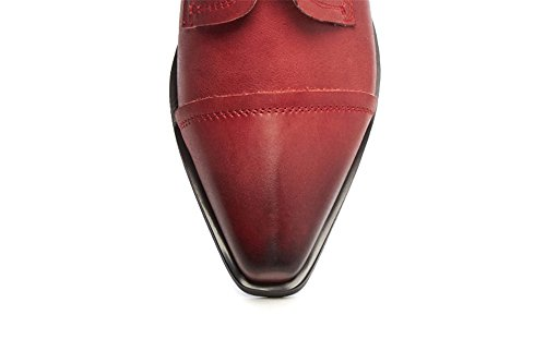 Nio Sju Äkta Läder Womens Spetsig Tå Låg Tjock Klack Handgjorda Klassiska Pumpar Skor Med Snörning Bourgogne