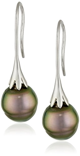 Sterling Silver and Freshwater | Tahitian Cultured Pearl Pendant Necklace and Earrings Jewelry Set (8 mm)