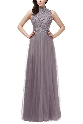 Grau High Abendkleider Spitze Braut Ballkleider Partykleider A nech Bodenlang Festlich Glamour mia Linie La YO6IO