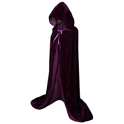 Wholesale Halloween Costumes Canada (Beautyfine Hooded Cloak Long Velvet Cape Masquerade Party for Christmas Halloween Cosplay Costumes)