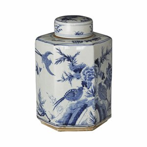 (Asian Chinese Tradational Blue and White Hexagonal Tea Jar Decorative Storage Container)
