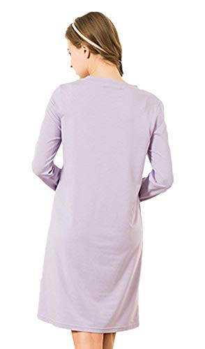 Mujeres Pijama De Cuello Redondo Dormir Ropa Otoño Chemise Larga Violett Cómodo Impreso Las Vintage Camisón Suelto Manga qEX1zzd