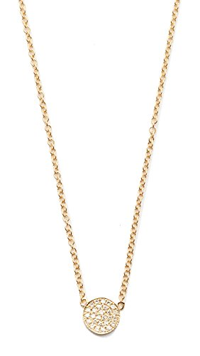 EF Collection Women's Diamond Mini Disc Necklace, Gold, One Size -