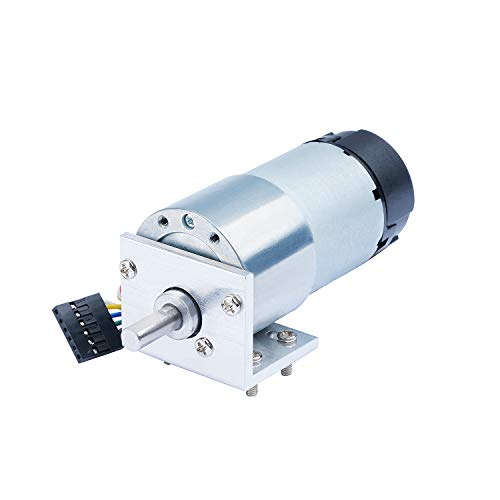 CQRobot Metal DC Geared Motor w/Encoder with Metal Mounting Bracket -12V/40RPM /80Kg.cm. ()