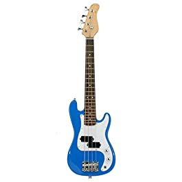 Electric Base Guitar, Small Scale 36 Inch Children's Sized Mini, Color: Blue