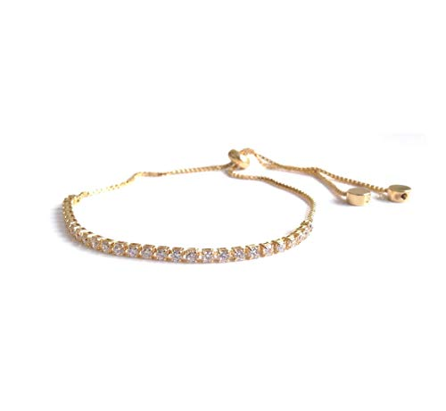 (Rhinestone Bolo Bracelets for Women 18k Gold Plated Chain)