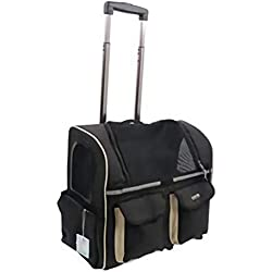 Pet trolley case,Cat Dog Travel Carrier Airline Approved,Nylon Backpack Telescopic Handle,Four-Wheeled pet Trolley Carrier for Dogs Cats Animals,Black
