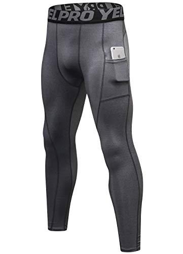 SILKWORLD Men's Compression Pants Pockets Cool Dry Sports Leggings Baselayer Running Tights, Grey, XXL -