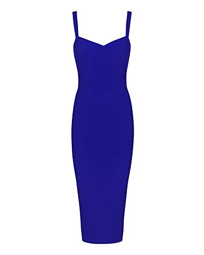 Whoinshop Women's Rayon Strap Mid-Calf Length Evening Party Bandage Prom Dress (L, Blue) ()