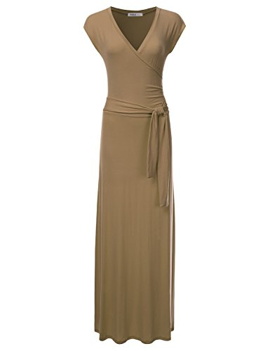(NINEXIS Women's V-Neck Cap Sleeve Waist Wrap Front Maxi Dress Taupe XL)