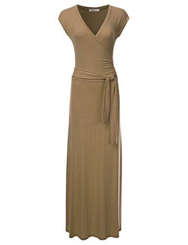 Cap Sleeve V-neck Cap - NINEXIS Women's V-Neck Cap Sleeve Waist Wrap Front Maxi Dress Taupe XL