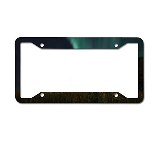 MichelleSmithred Paddy Field Aurora Polar Lights License Plate Frame Aluminum Car tag Cover 4 Holes and Screws for US and Canada