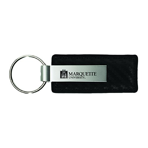 Marquette Chain (Marquette University-Carbon Fiber Leather and Metal Key Tag-Black)