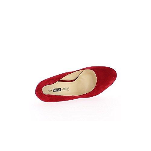Escarpins rouges aspect daim à talons de 13,5cm et plateau