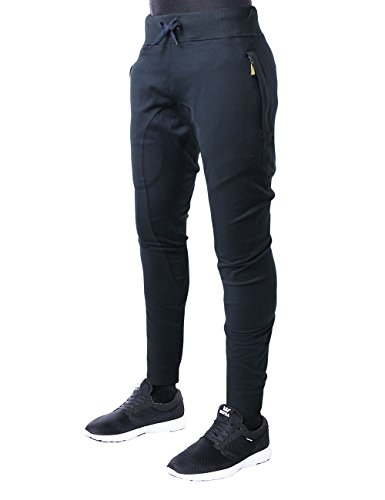 Hat and Beyond Mens Fleece Jogger Pants Elastic Active Basic Urban Harem Slim Fit (Small, neo_7508navy)