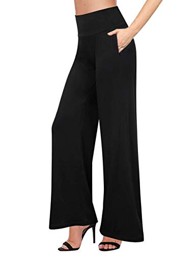 - GlorySunshine Women's Elastic Waist Solid Palazzo Casual Wide Leg Pants with Pockets (S, Black-Pockets)