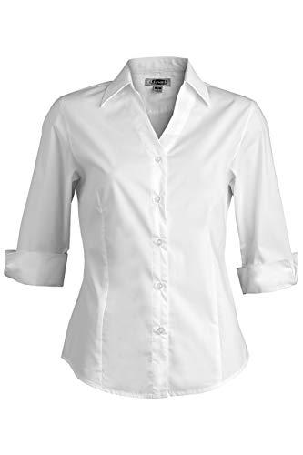 Edwards Ladies' Tailored V-Neck Stretch Blouse 3/4 Sleeve Medium White