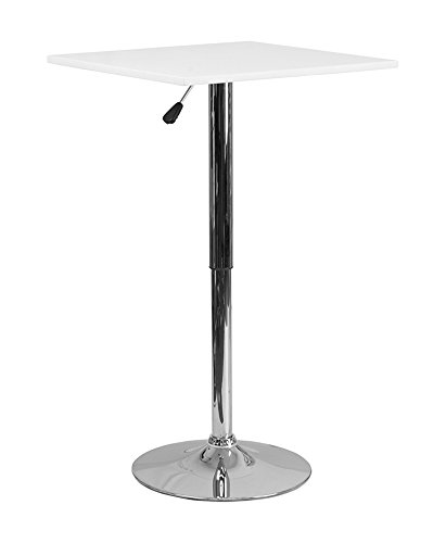 - Offex OFX-367782-FF 23.75'' Square Adjustable Height White Wood Table (Adjustable Range 33'' - 40.5'')