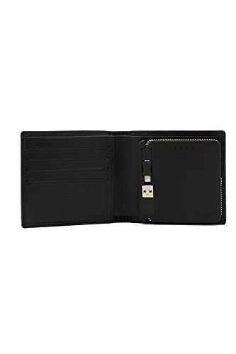 Orbit Wallet - Men's Smartphone Charging Wallet with Bluetooth Tracker - Genuine Leather - Black